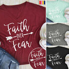 Faith Over Fear Christian T-shirt Womens Mens Jesus Belief Power Tees Top