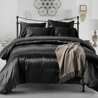 Luxury Satin Charmeuse Sheet Set Queen King Soft Silk Feel Bedding Cover 4Pcs image