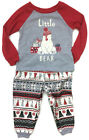Cuddl Duds Little Bear Gray Red Knit Pajamas for Toddler Boys Fair Isle Print