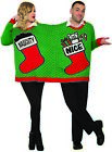 Fun Christmas Sweater For Two Couples Naughty Nice Stockings Ugly Sweatshirt