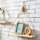 Home Wall Mounted Rope Wooden Hanging Storage Rack Floating Shelf Display Decor