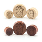 Anatomical Human Heart Wood Ear Plug - Engraved Double Flared Bamboo or Rose
