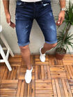 Mens Fashion Denim Shorts Ripped Jeans Casual Solid Summer Short Pants