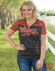 Cowgirl Tuff Women's Charcoal & Bright Coral Logo Tee Shirt 100226  SALE PRICE!