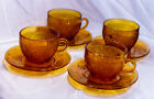 Set Of 4 Indiana Amber Sandwich Glassware Tiara Cups And Saucers
