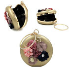Womens Flower Clutch Purse Elegent Pearl Beaded Round Small Clutch Bags for Date