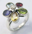 925 Silver MULTISTONE Multicolored HANDCRAFTED New STAR Ring Any Size OLD STYLE