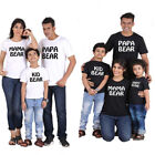 USA Casual Mama Papa Bear Family Matching Outfits T-Shirt Baby Dad Son Clothes