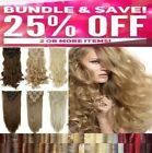 Full Head clip in hair extension 8pc synthetic feel human Sandy Champagne Blonde