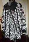 *CAROL ROSE KNIT SWEATER TOP WRAP SIZE S - M BLACK WHITE PRINT NWT