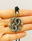 Ouroboros Serpent Swallowing Snake 925 Sterling Silver Necklace Pendant Jewelry image