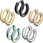 Stainless Steel Thick Round Polished Hoop Earrings (Choose Color & Size)
