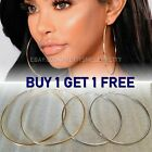 3.5 Inch Big Smooth Thin Large Silver Gold Hoop Earrings -buy 1 Get 1 Free!