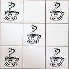 6 Coffee Cup Kitchen Vinyl Wall Tile Stickers