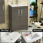 Bathroom Vanity Unit Basin Sink Furniture Cabinet Storage BTW Pan WC Grey Avola