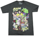 NICKELODEON MADE IN THE 90S T-SHIRT HEATHER CHARCOAL MENS CARTOON ADULT TEE image