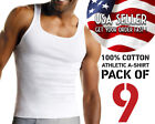 Men's Basic White Tank 9-Pack Tank Top, 100% Cotton Tag Free Casual Undershirts