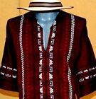 Burgundy Mexican Guayabera Casual Shirt Summer Sport Cotton Embroidery all sizes