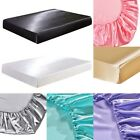 US Size Fitted Sheet HIGH QUALITY Bedding Silk Imitation Mattress Cover image