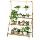 Stable Design Bamboo Plant Stand Foldable Flower Pot Ladder Shelf Indoor Outdoor