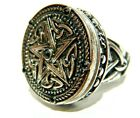 PENTAGRAM POISON RING pewter locket pentacle Celtic triquetra wiccan occult W6 image