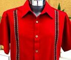 5 de Mayo Mexican Red Guayabera Casual Shirt Cotton Embroidery Buttons Down NWT