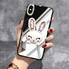 INS Luxurious Diamond Rabbit Stand Makeup Mirror Case Cover For Various Phone