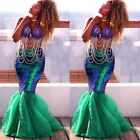Women's Kids Sexy Mermaid Tail Full Skirt Party Maxi Fancy Cosplay Costume Dress