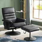 Mcombo Recliner with Ottoman Faux Leather Swivel Reclining Chair with Massage