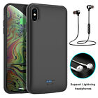 For iPhone XS Max/XR/X/7/8 Plus Battery Charger Case Power Bank With Earphone