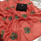Embroidery Saree Designer Party Wear Sari Blouse Indian Bollywood Pakistani