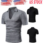 Mens Shirts Short Sleeve V Neck Basic Tee Casual Plain T -Shirt Fashion Shirt A7 image