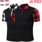 USA Mens Shirts Short Sleeve Basic Tee Plaid Basic Casual Lapels T -Shirt Tops image