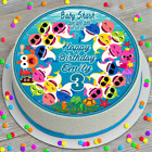 BABY SHARK PERSONALISED PRECUT EDIBLE ICING SHEET 7.5 INCH CAKE TOPPER B054