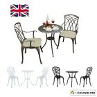3 Piece Bistro Set Garden Patio Outdoor Table Chairs Cast Aluminium Furniture Uk