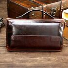 Men Vintage Genuine Leather Long Clutch Wallet Business Bag Large Capacity Purse