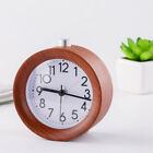 Wooden Round Alarm Clock with Night Light Silent Snooze Table Desktop Small