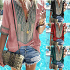 US Summer Women T-Shirt Boho Print Tee Deep V-Neck Long Sleeve Shirts Top Blouse