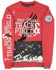 Post Game Track and Field Sweatshirt Pullover Sweater Sports Crewneck Mens Red