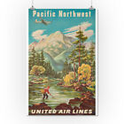 USA United Air Lines Pacific Northwest Vintage Ad (Posters, Wood & Metal Signs)