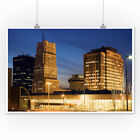 Akron, Ohio Skyline at Night - Photograph A-90588 (Posters, Wood & Metal Signs)