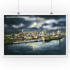 Albany, New York - View of Albany Skyline at Night (Posters, Wood & Metal Signs)