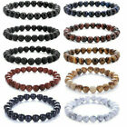 Men Women 8mm Lava Rock Chakra Beads Elastic Natural Stone Agate Bracelet image