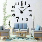 Modern DIY Large Wall Clock 3D Mirror Surface Sticker Art Design Home Decor New