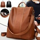 USA Women's Leather Backpack Anti-Theft Rucksack School Shoulder Bag Black/Brown image