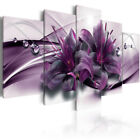 Purple Lilies Abstract Flower 5 Pieces Canvas Wall Decorating Home Decor Poster