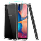 For Samsung Galaxy A10e A20 A30 A50 Clear Case + Tempered Glass Screen Protector