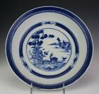 11+1%2F2%22+Antique+Chinese+Export+Blue+White+Deer+Tree+House+Scroll+Round+Bowl+SBM
