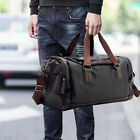 Leather Travel Tote Luggage Oversized Men Weekend Gym Shoulder Duffle Bag &Strap