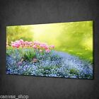 MYSTERIOUS SUNNY GARDEN PINK FLOWERS CANVAS PRINT WALL ART PICTURE READY TO HANG